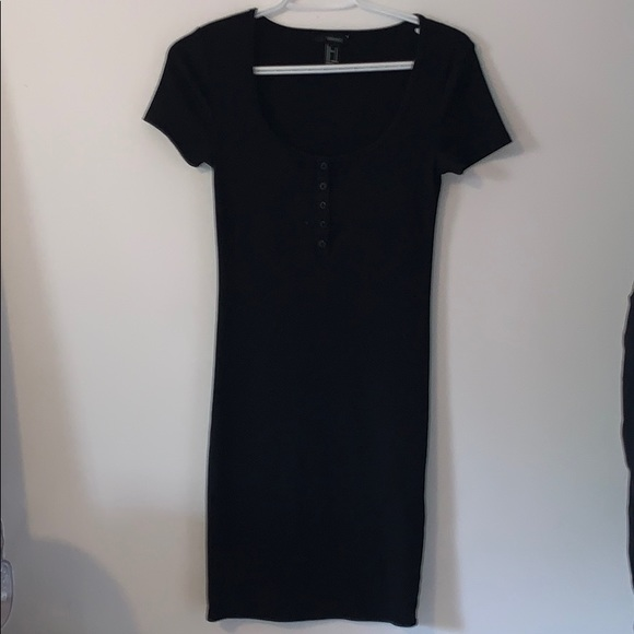 black short dress with buttons